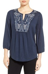 Caslonr Women's Caslon Embroidered Peasant Top Navy Indigo Embroidery