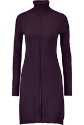 Nina Ricci Paneled Wool Blend And Silk Chiffon Turtleneck Dress Dark Purple