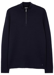 Nn.07 Levi Navy Zipped Wool Jumper