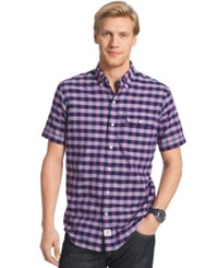 Izod Men's Cassidy Tattersall Short Sleeve Shirt Hyacinth Violet