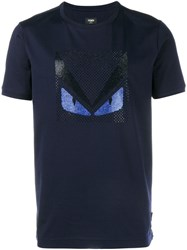 Fendi Crystal Embellished Monster T Shirt Blue