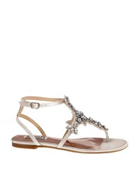 Badgley Mischka Cara Satin Crystal Embellished Flat Thong Sandals Ivory