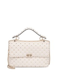 Valentino Rockstud Medium Quilted Leather Chain Shoulder Bag Ivory Poudre