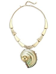 Alexis Bittar Lucite Crystal Studded Sculptural Shell Pendant Necklace Convertible Pin Gold Multi