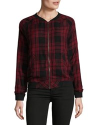 Beach Lunch Lounge Plaid Bomber Jacket Red