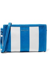 Balenciaga Bazar Striped Textured Leather Shoulder Bag Blue