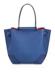 Tod's Capitano Wave Small Pebbled Leather Tote Warm Blue