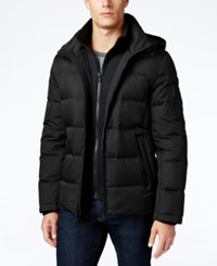 Michael Kors Men's Hooded Puffer Coat With Attached Bib Black