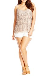 Plus Size Women's City Chic Sequin Fringe Camisole Top