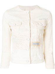 Jacob Cohen Collarless Denim Jacket Nude And Neutrals
