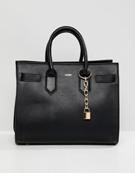 Aldo Naura Black Tote Bag With Metal Lock Detail Black