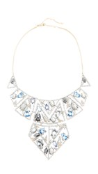 Alexis Bittar Mosaic Lace Bib Necklace Silver Multi