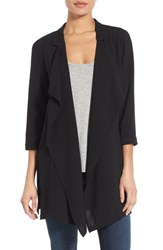 Bobeau Women's Drape Front Long Jacket Black