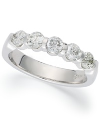 Macy's Certified Five Stone Diamond Band Ring In 18K White Gold 1 1 2 Ct. T.W.