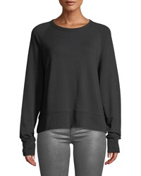 Rag And Bone Long Sleeve Athletic Crewneck Pullover Sweater Black