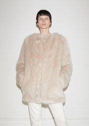 Helmut Lang Faux Fur Coat Oatmeal