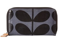 Orla Kiely Shiny Laminated Solid Stem Print Big Zip Wallet Midnight Handbags Navy
