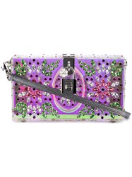 Dolce And Gabbana 'Dolce' Box Clutch Women Calf Leather Crystal Plexiglass One Size