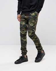Asos Skinny Rouched Leg Joggers In Camo Print Khaki Green