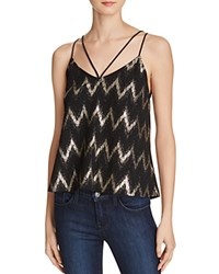 Aqua Zig Zag Metallic Tank Top Blackgold