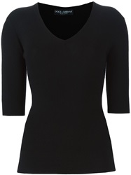 Dolce And Gabbana Ribbed Fitted Sweater Black