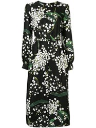 Oscar De La Renta Floral Print Midi Dress Black