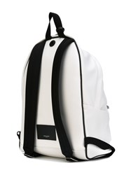 Saint Laurent 'City' Logo Print Backpack Men Leather Polyamide One Size White