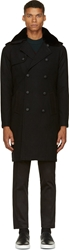 Band Of Outsiders Black Wool And Shearling Trench Coat