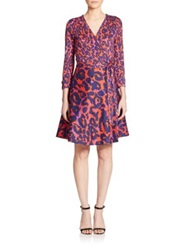 Diane Von Furstenberg Amelia Animal Print Wrap Dress Vintage Leopard Red