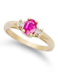 Macy's 14K Gold Ring Ruby 1 2 Ct. T.W. And Diamond 1 8 Ct. T.W. 3 Stone Ring