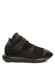 Y 3 Qasa High Top Leather And Suede Trainers Black
