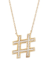 Wrapped Hashtag Diamond Pendant Necklace 1 10 Ct. T.W. In 10K Gold No Color
