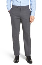 Hart Schaffner Marx Big And Tall New York Flat Front Stretch Solid Wool Trousers Grey