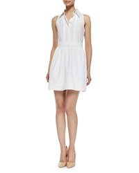 Diane Von Furstenberg Lara Tuxedo Collar Dress White