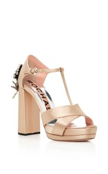 Rochas Beaded Satin Heels Nude