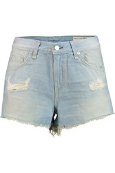 Rag And Bone Cut Off Distressed Denim Shorts Blue