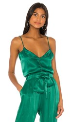 Indah Lady Luck Solid Button Front Cami In Green. Emerald