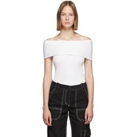 3.1 Phillip Lim Off White Woolmark Ribbed Off Shoulder Sweater