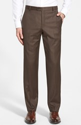 Men's Big And Tall Hickey Freeman 'B Series' Flat Front Wool Trousers Brown