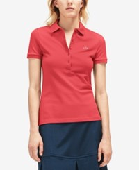 Lacoste Five Button Slim Fit Polo Sirop Pink