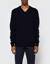 Comme Des Garcons Play V Neck Pullover In Navy