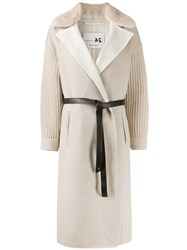 Manzoni 24 Belted Knitted Sleeves Cardi Coat 60