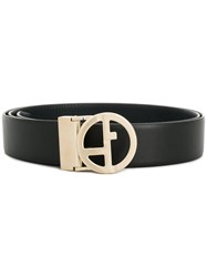 Giorgio Armani Two Piece Logo Belt Black