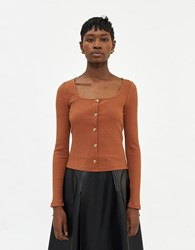 Farrow Lydie Knit Top In Brown Size Small