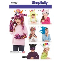 Simplicity Children's Novelty Hats Sewing Patterns 1292