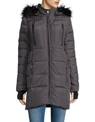 Catherine Malandrino Faux Fur Trimmed Down Coat