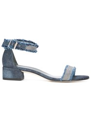 Stuart Weitzman Stud Detail Denim Sandals Blue