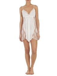 In Bloom Semi Sheer Lace Overlay Chemise Ivory