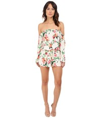 Brigitte Bailey Malaya Off The Shoulder Romper Off White Pink Women's Jumpsuit And Rompers One Piece