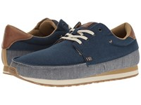 Sanuk Beer Runner Navy Tan Men's Lace Up Casual Shoes Blue